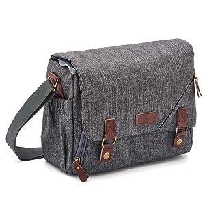 DSLR Gadget Bag, Evecase Large Water Resistant Shockproof SLR Messenger Shoulder Case Bag for Mirrorless, Micro 4/3, Compact System, High Zoom Digital Camera - Gray