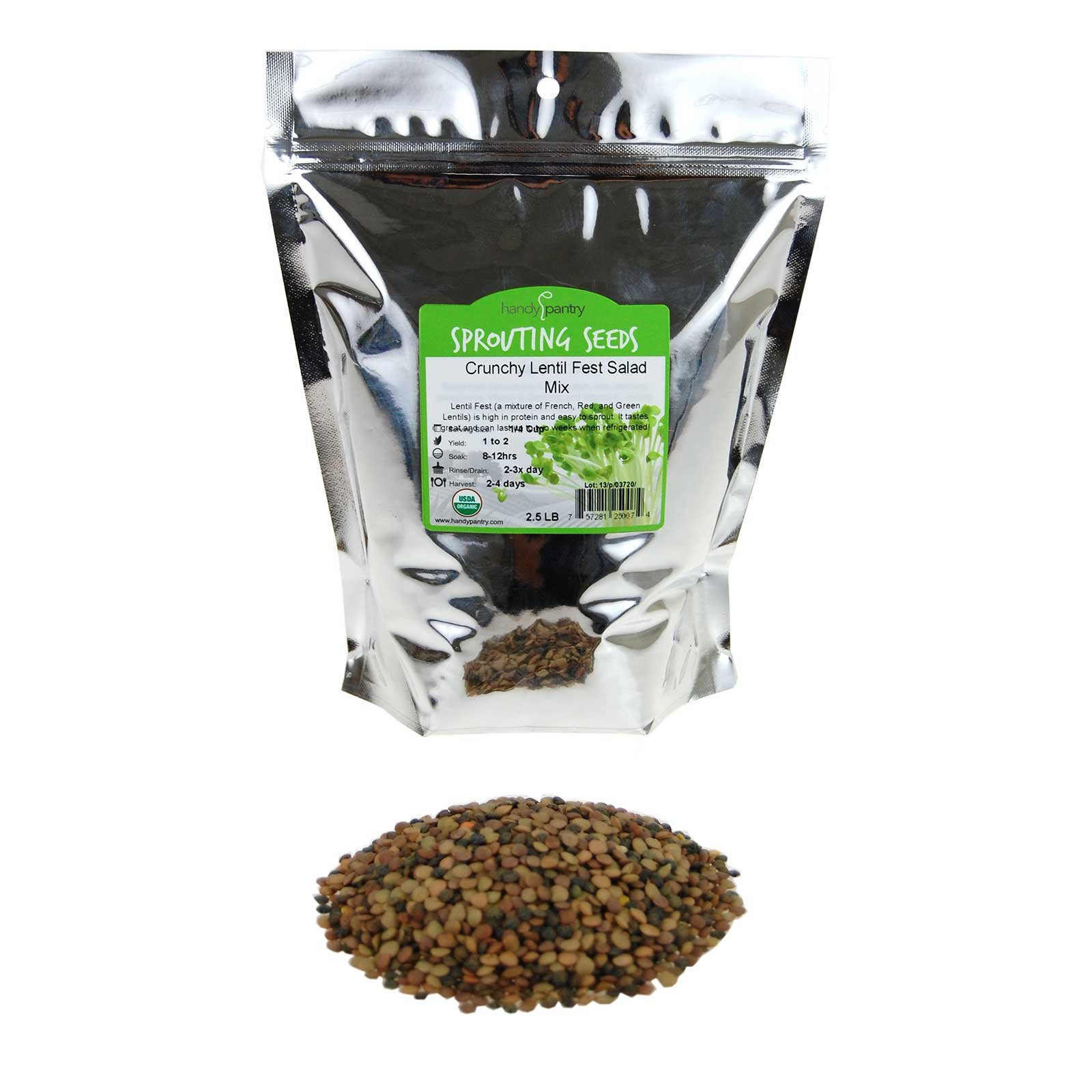 Handy Pantry Crunchy Lentil Fest Sprouting Seed Mix- 2.5 Lbs- Organic- Green, Red & French Lentils- Edible Seeds, Salad, Soup, Sprouts & Food Storage