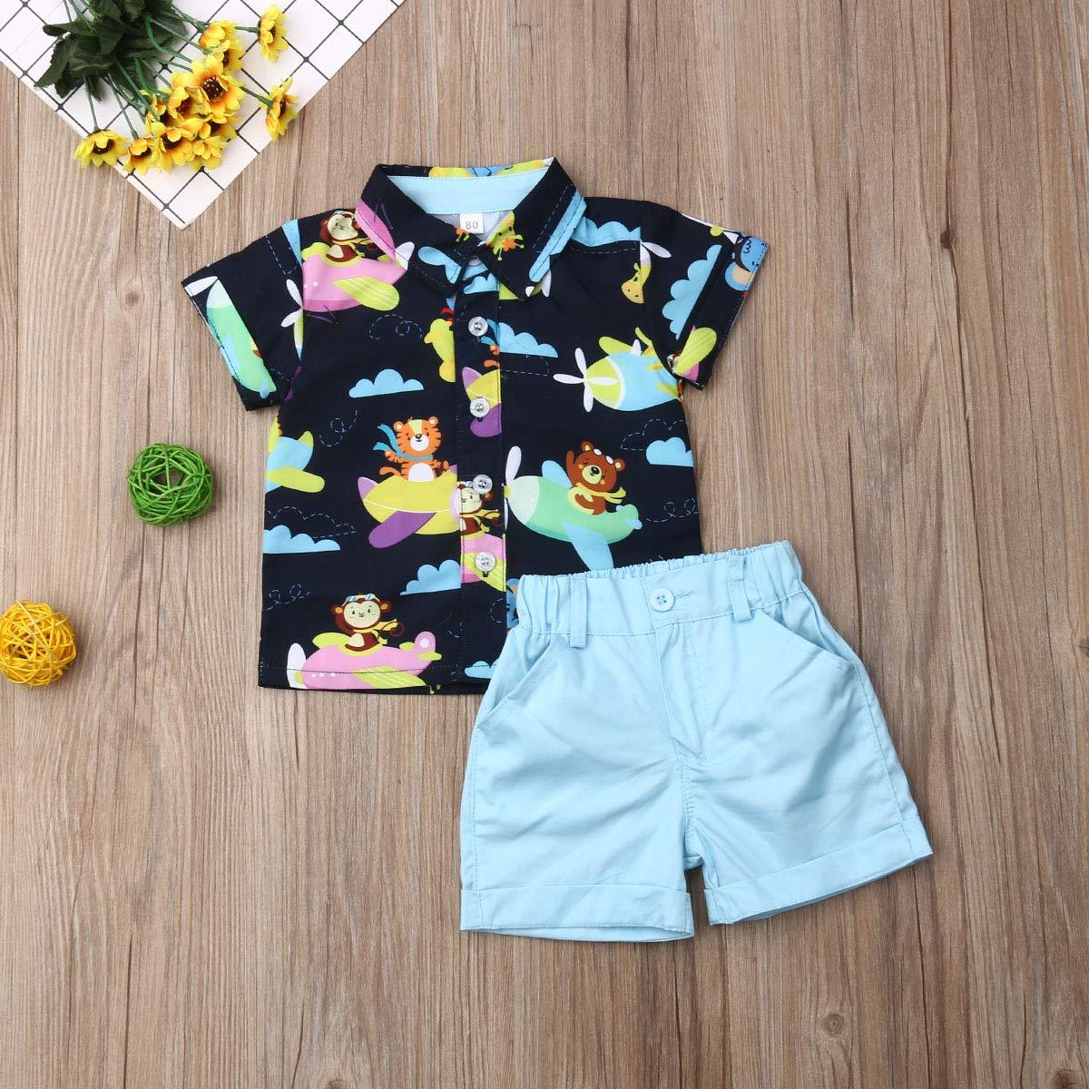 Dinosaur Button Down Shirt Baby Gentleman Tops+Shorts Pants Outfits Set