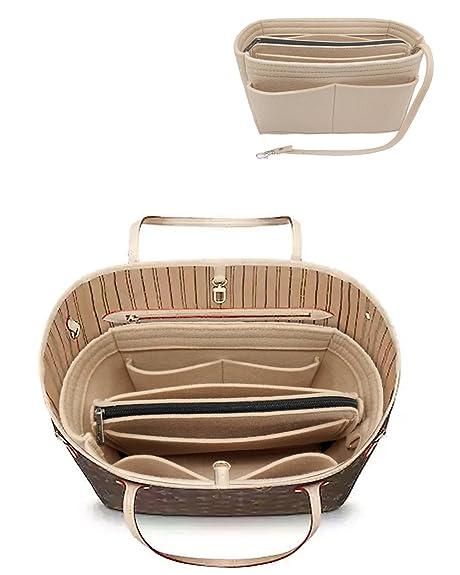 LEXSION Felt Purse Insert Handbag Organizer Bag in Bag Organizer with  HandlesHolder Beige Medium 8021 421cbbb49654a