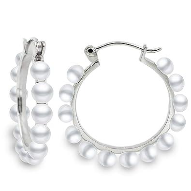 cbb9e91e603e Pendientes de Mujer de Aros con Perlas Blancas Cultivadas de Agua Dulce  Secret   You