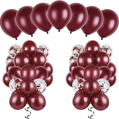 120 Piezas de Globos de Borgoña Kit de Globos de Látex Globos con Confeti para Boda Fiesta de Despedida a Soltera Cumpleaños Aniversario: Juguetes y juegos