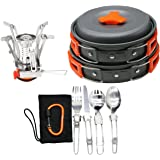 12/16 Pcs Camping Cookware Stove Carabiner Canister Stand Tripod Folding Spork Set Bisgear Outdoor Camping Hiking Backpacking Non-stick Cooking Picnic Knife Spoon Wine Opener