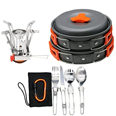 Bisgear 12-17Pcs Camping Cookware Stove Carabiner Canister Stand Tripod Folding Spork Set Outdoor Camping Hiking Backpacking Non-Stick Cooking Picnic Knife Spoon Wine Opener