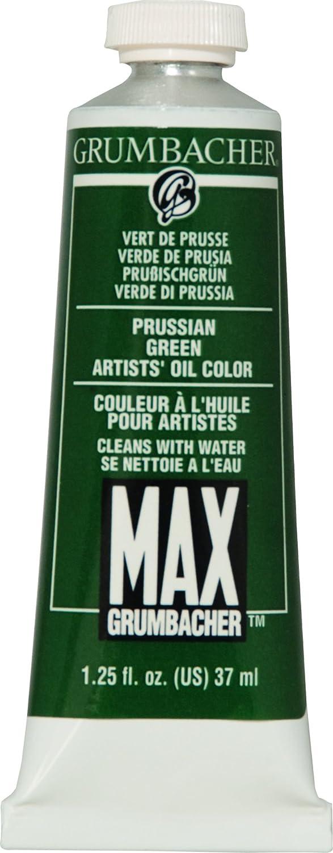 Grumbacher Max Water Miscible Oil Paint, 37ml/1.25 oz, Prussian Green M166