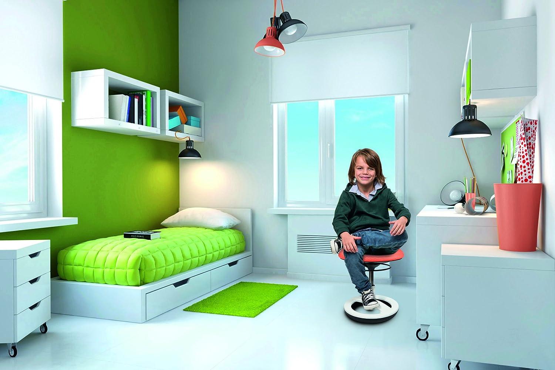 Topstar Sitness Bobby, Sitzhocker für Kinder, niedrige Sitzhöhe  38 38 38 - 46 cm, Standfußring Alu poliert, Stoffbezug, blau 45b0f5