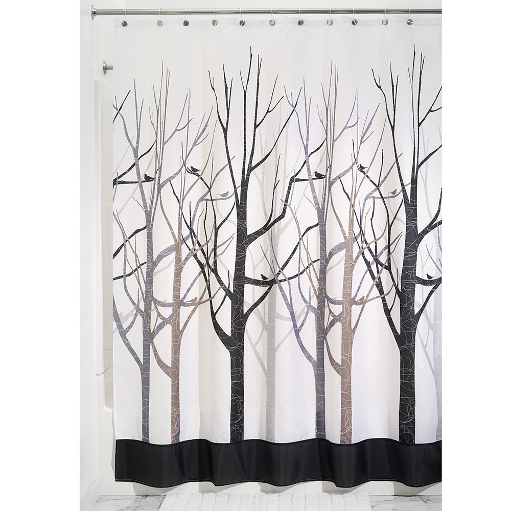 Amazon InterDesign Forest Shower Curtain Gray And Black 72