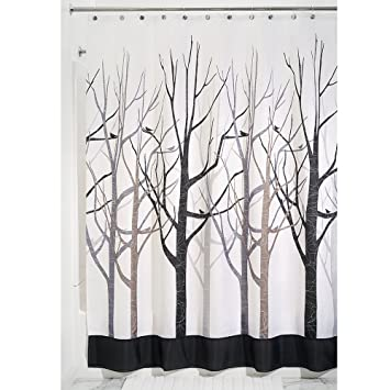 InterDesign Forest Shower Curtain Gray And Black 72 X 84 Inch