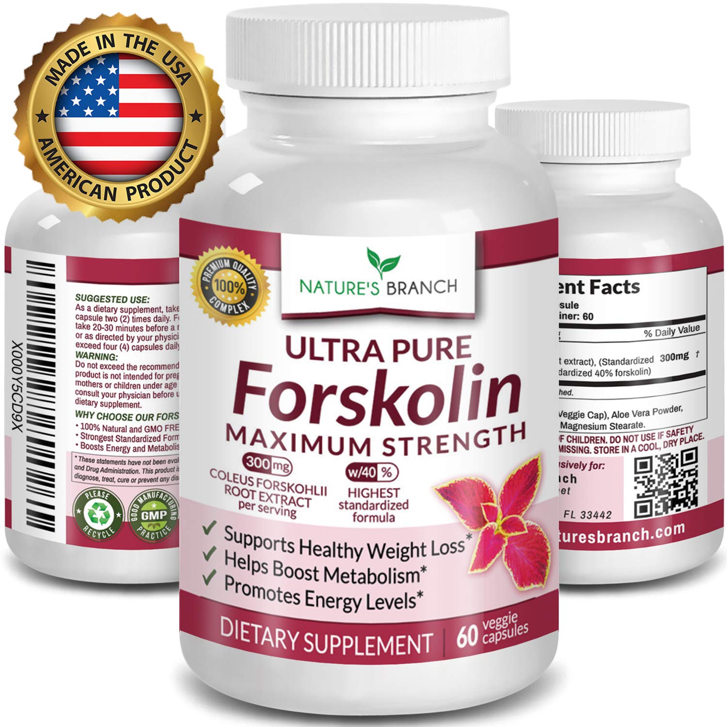 Premium 100% Ultra Pure Forskolin for Weight Loss Max Strength w/ 40% Standardized Coleus Forskohlii Root Extract Powder Belly Buster Supplement - Extreme Keto Advanced Boost Complex - 60 Diet Pills by Nature's Branch