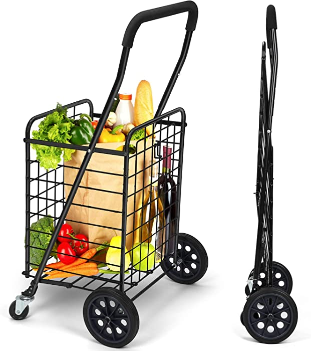 Pipishell Shopping Cart with Dual Swivel Wheels for Groceries - Compact Portable Folding Cart Saves Space - with Adjustable Handle Height - Easy to Move Lightweight Trolley Holds up to 70L/Max 66Ibs