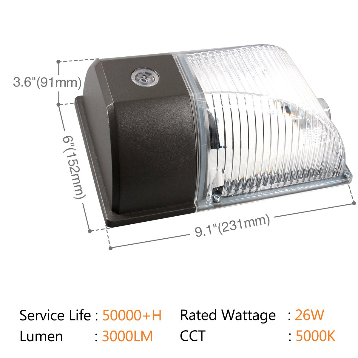 2-Pack White 26W LED Light Dusk to Dawn Photocell Outdoor 3000lm 5000K Daylight