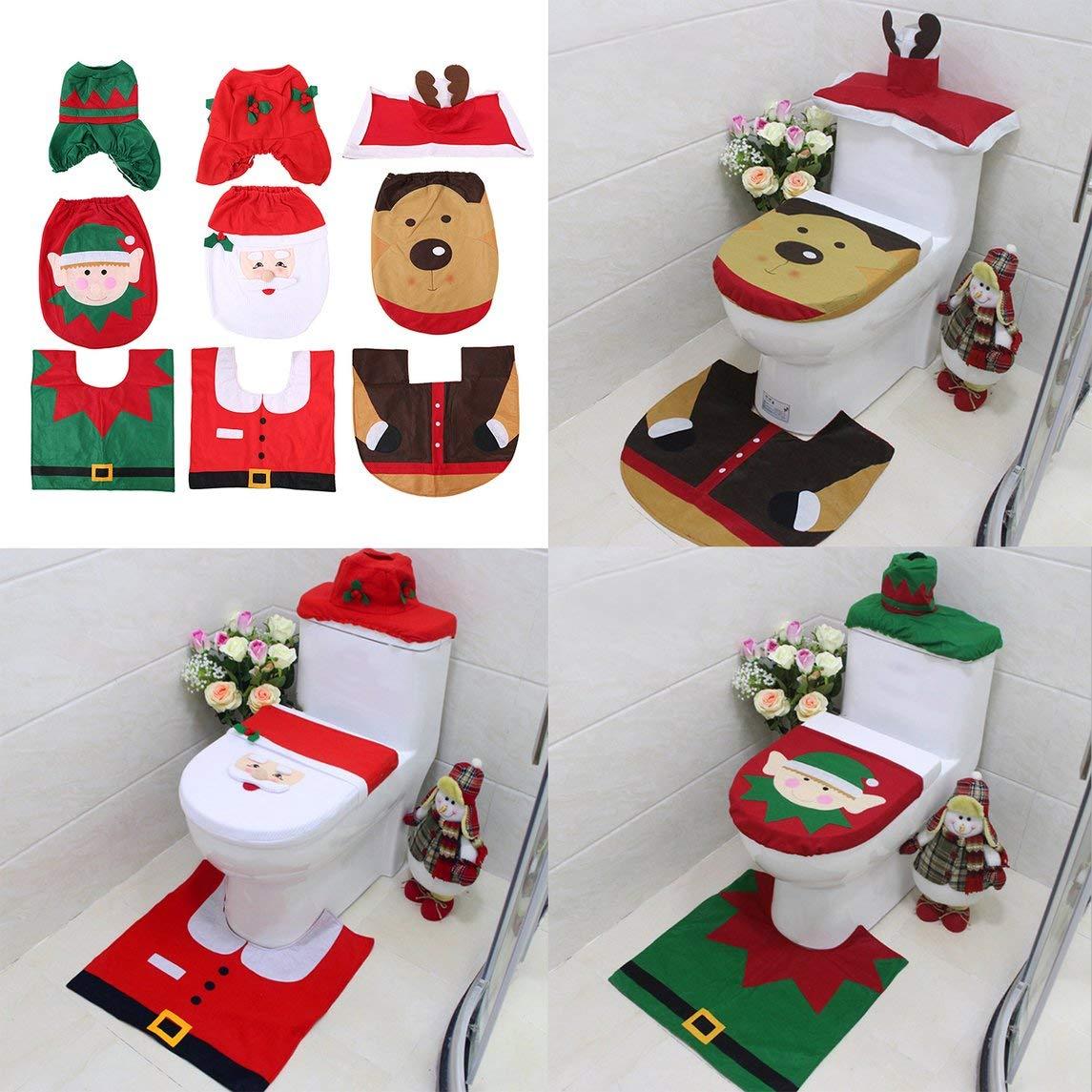 Footprintse 3 pezzi/set decorazioni natalizie per la casa elfo cervo babbo natale coprivaso copri WC coperchio anno nuovo natale ornamenti-colore
