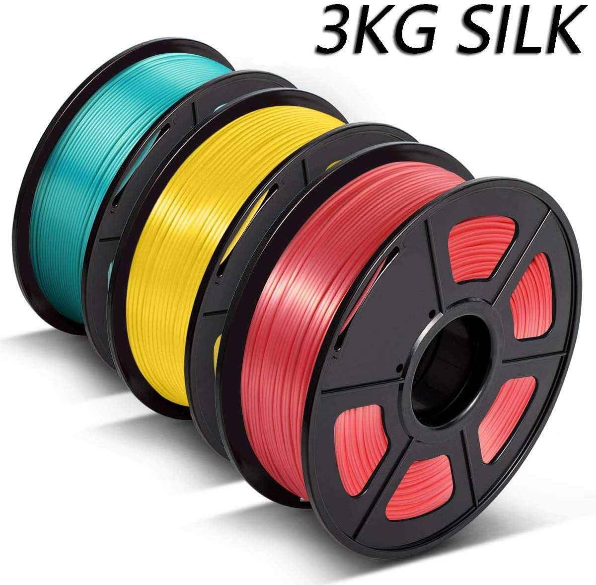 // 0.02 mm,Printing Smooth 3D Filament Silk PLA 1.75mm,3D Warhorse Shiny Silk PLA Filament for 3D Printer,Silk Filament WatermelonRed+Yellow+GrassGreen,3 Spool,Dimensional Accuracy KG