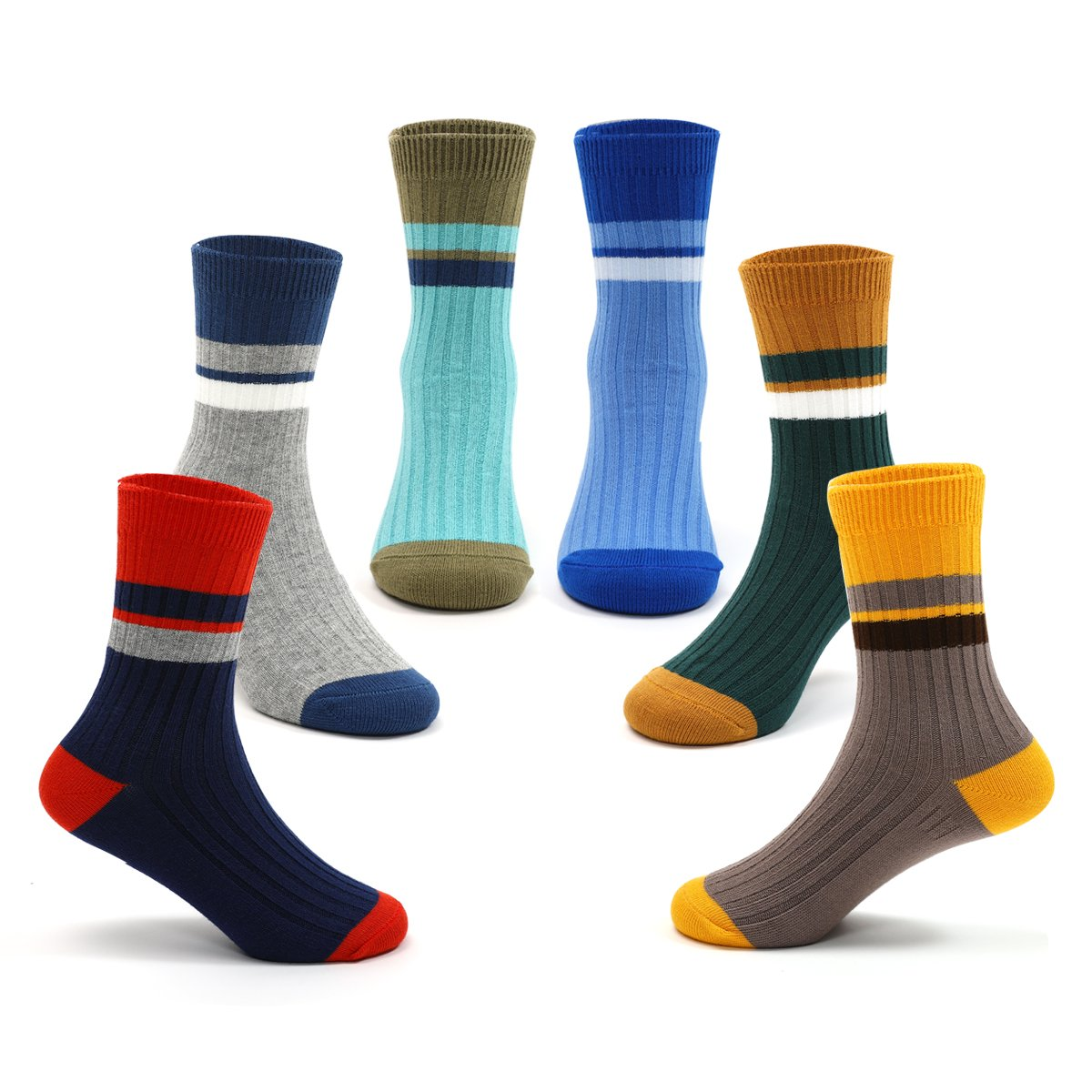 Boys Toddler Cotton Seamless Socks Kids Athletic Crew Socks 6 Pack
