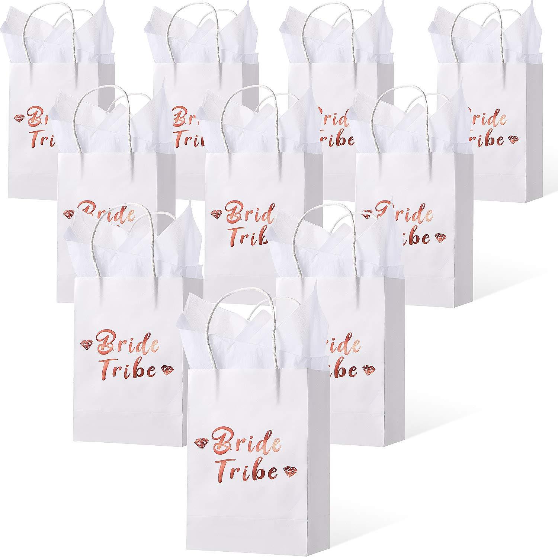 12 Pezzi 8 x 6 x 3 Pollici Squadra Sposa Sacchetti di Carta Rosa Oro per Bomboniere per Addio al Nubilato e Sposa e 12 Fogli 39.3 x 19.7 Pollici Carta Velina