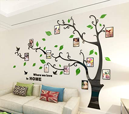 Alicemall Acrylic 3d Wall Stickers Photo Frames Large Family Tree
