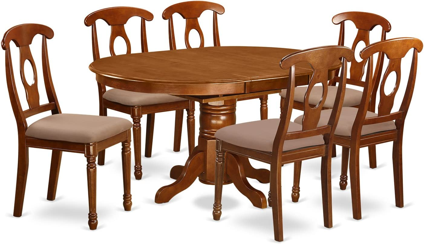 AVNA7-SBR-C 7 Pc Dinette Table with Leaf and 6 Upholstered Seat Chairs in Saddle Brown .
