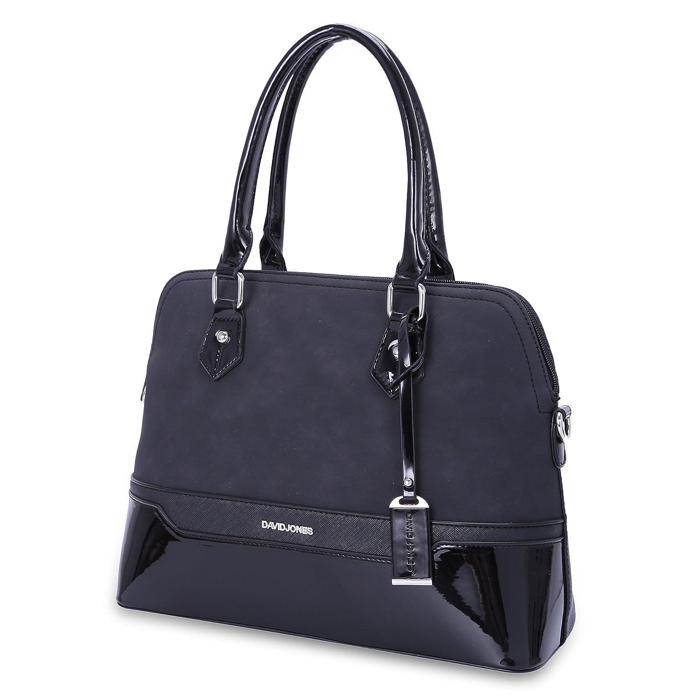 David Jones - Women s Bugatti Handbag - Patent Glossy PU Leather Bowling  Bag - Top Handle Shoulder Crossbody Bag Stripes - Elegant Duffel Tote Bag -  ... e9e01ed74cd84