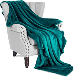 "Exclusivo Mezcla Luxury Flannel Velvet Plush Throw Blanket – 50"" x 60"" (Teal)"