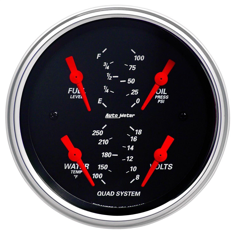Auto Meter 1412 Designer Black 3-3/8' Short Sweep Electric Quad Gauge