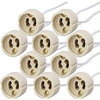 PACK Portalámparas casquillos GU10 para bombillas halogenas hasta 100W y bombilla led, zócalo de cerámica con cable de…
