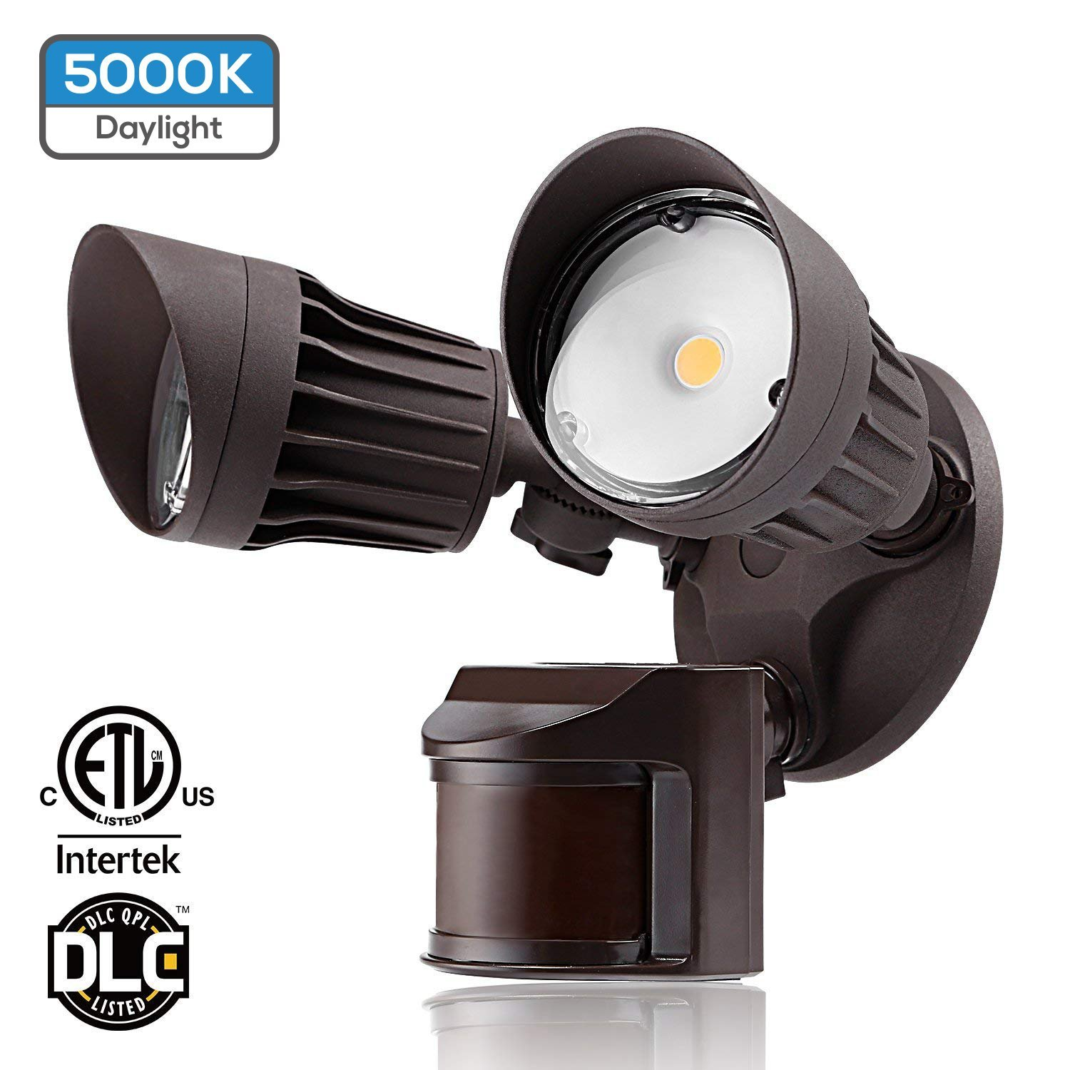 Dual-Head Motion Activated LED Outdoor Security Light, 20W (120W Equivalent), 3 Work Modes with Photo Sensor, 1600Lm Floodlight for Porch, Stairs, 5000K Daylight, Bronze