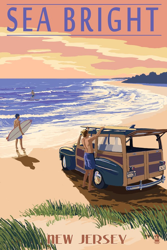 Sea Bright, New Jersey - Woody On The Beach (12x18 Art Print, Wall Decor Travel Poster)