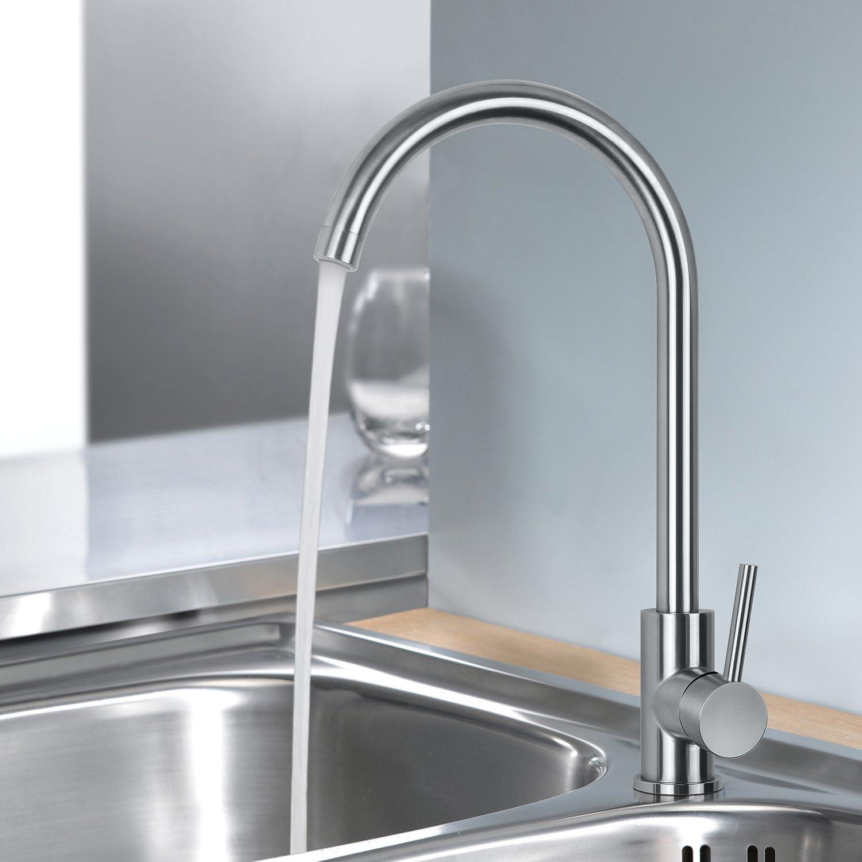 MSTJRY Küche Wasserhahn, Küchenarmatur Edelstahl, hochdruck 18° drehbar  Küchen Armatur, Spülarmaturen Küche, Einhebel Spültischarmatur,  Wasserhähne,
