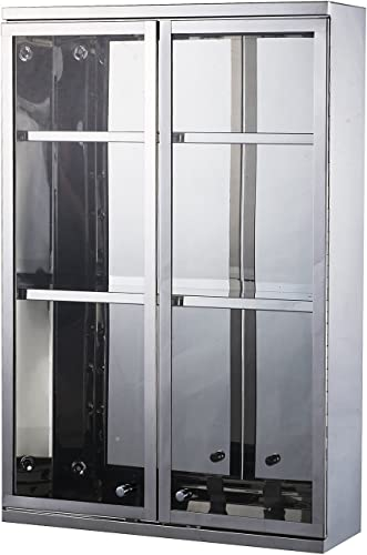 HomCom Vertical 24 Stainless Steel Bathroom Wall Mounted Glass Medicine Cabinet