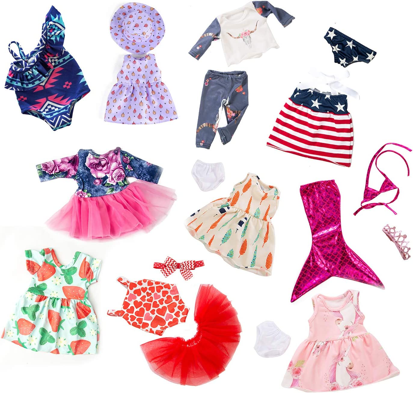 ZITA ELEMENT 10PCS 18 inch Doll Clothes and Accessories for American 18 inch Girl Doll,Dresses,T-Shirts,Pants,Swimsuit,Jumpsuit,Hair Bands and Hair Clips for 16-18 Inch Girl Doll Clothes