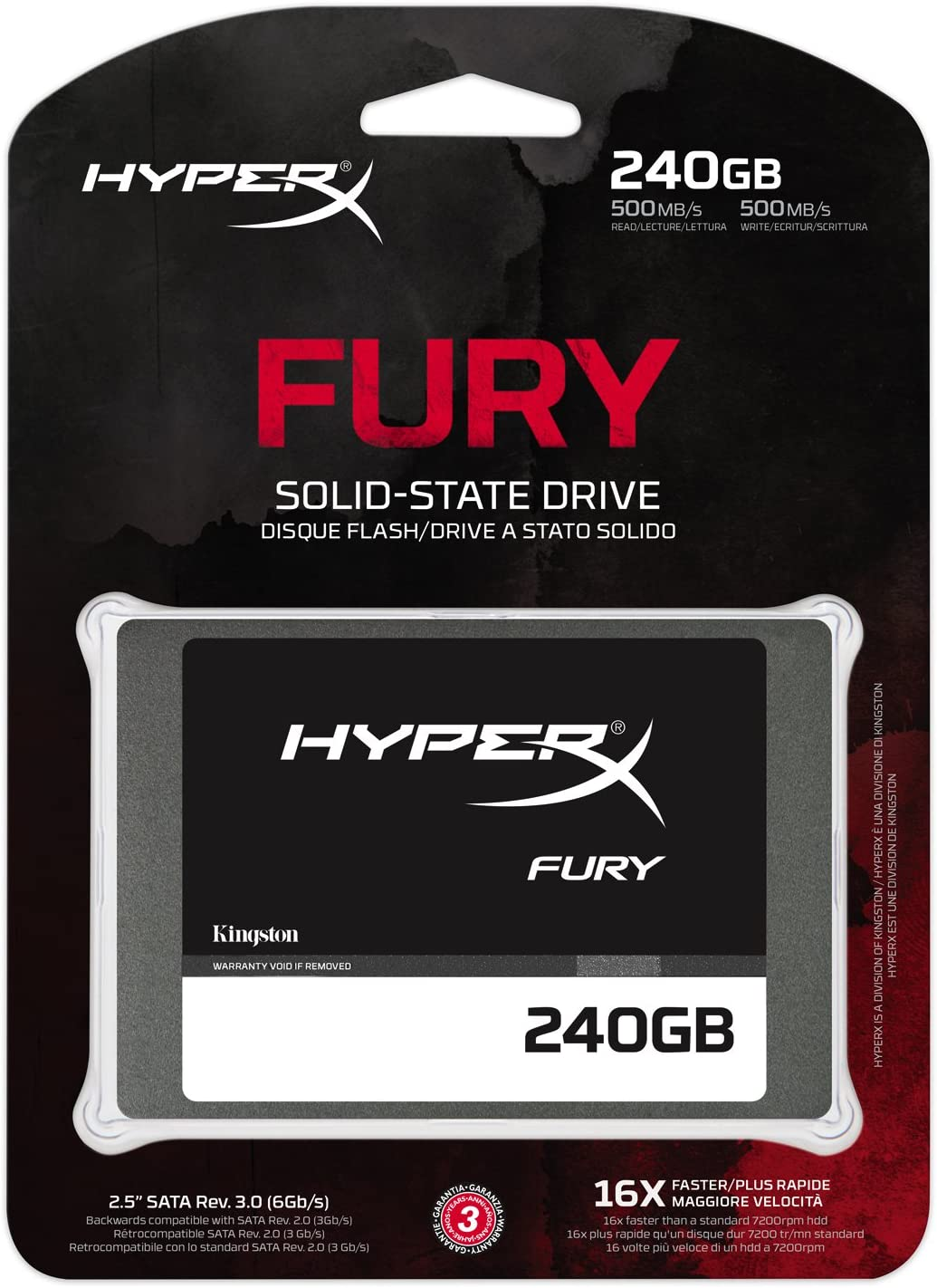 HyperX Fury - Disco Duro Interno Gaming SSD de 240 GB SATA 3 ...