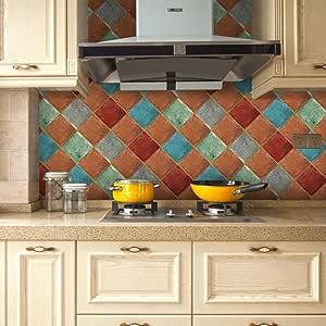 20 cm x 200 cm azulejos de pared autoadhesivos – Saihui a prueba de aceite/resistente al agua azulejos de baño pegatinas cocina backsplash papel pintado transferencia A: Amazon.es: Hogar