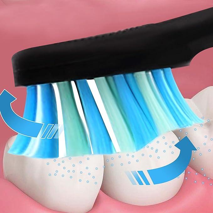 ACEVIVI S1 Cepillo de dientes eléctrico recargable inductivo con tecnología avanzada sónica, 2 minutos del temporizador, 3 modos de limpieza, 3 cabezales, ...