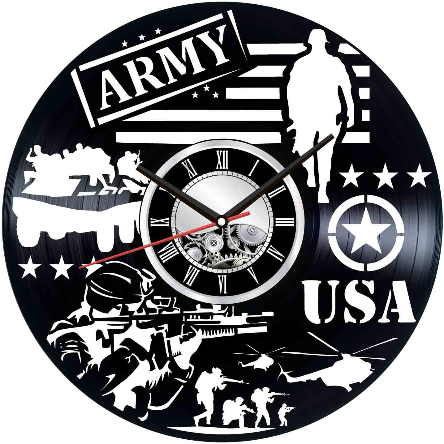 USA Army Wall Clock Made of Vintage Vinyl Records - Stylish Clock and Amazing Gifts Idea – Unique Home Decor – Personalized Presents for Men Women Kids – Great for Living Room Bedroom Kitchen