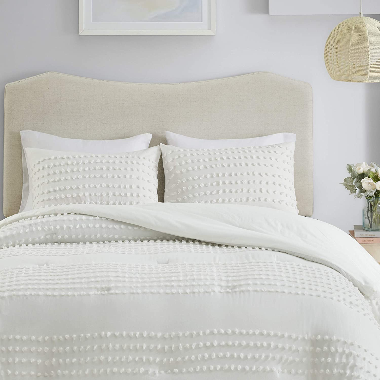 Comfort Spaces Phillips Comforter Reversible 100% Cotton Face Jacquard Tufted Chenille Dots Ultra-Soft Overfilled Down Alternative Hypoallergenic All Season Bedding-Set, Twin/Twin XL, Ivory