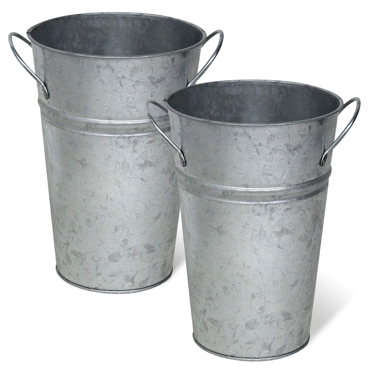 225 & Arbor Lane Rustic Metal Flower Vase - 8 Inches Tall - French Bucket - Farmhouse Style - Set of 2 - (Silver)