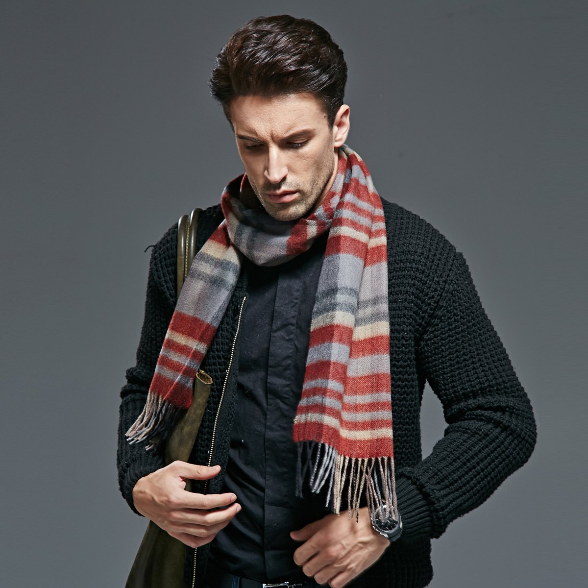 Autumn and winter warm men Plaid pure cashmere scarf scarf thickening