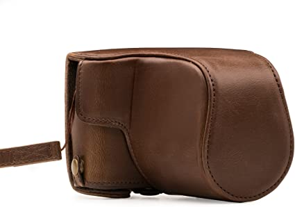 Mini Storage Bag Neck Strap BolinUS Handmade PU Leather FullBody Camera Case Bag Cover for Canon EOS 200D with 18-55mm lens Bottom Opening Version Brown EOS 200D Case