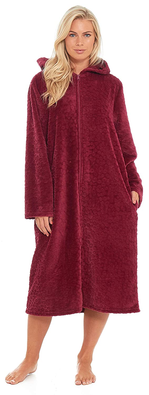 Ladies Hooded Full Zipped Dressing Gown Flannel Fleece Robe Embossed  Pattern Teal Blue Berry Red Grey Floral f997ddf8e