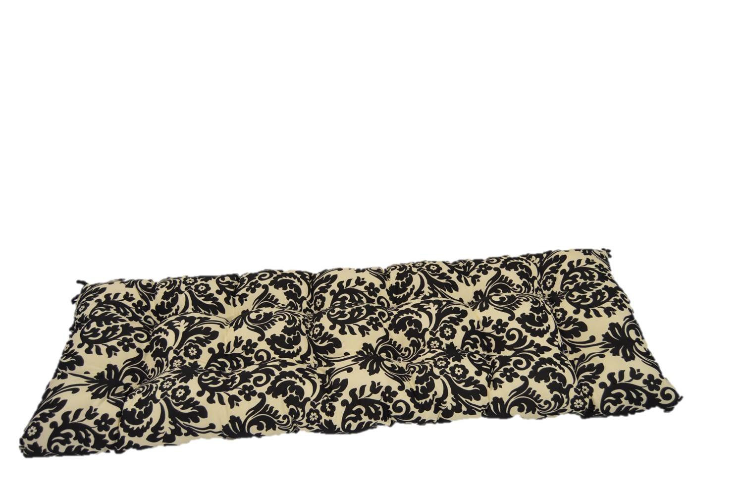 Black & Ivory Damask Scroll Tufted Cushion for Bench, Swing, or Glider - Choose Size (38'' x 18'')
