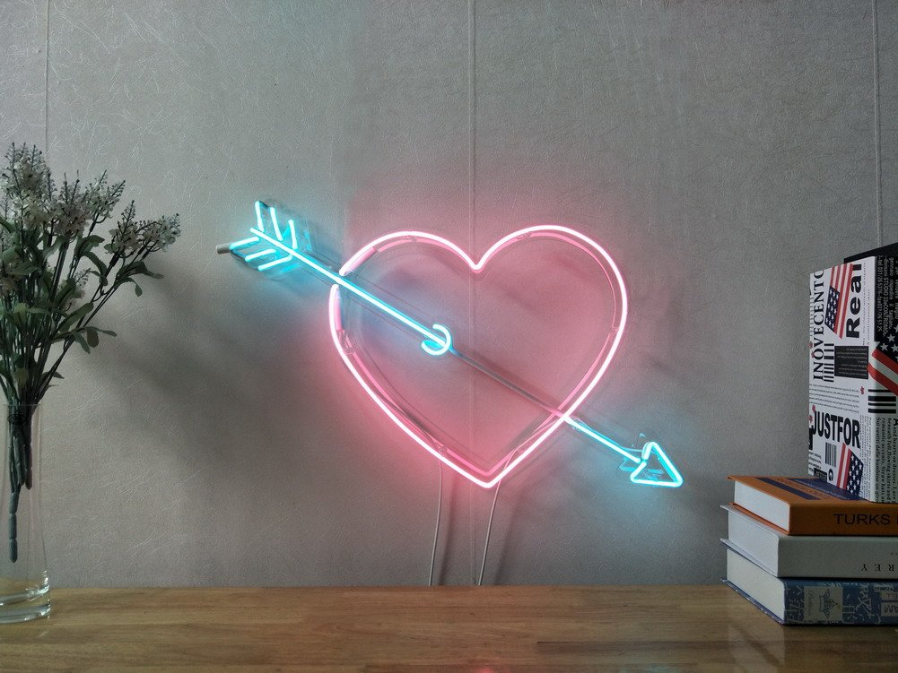 Cupid's Arrow Love Heart Real Glass Neon Sign For Bedroom Garage Bar Man Cave Room Home Decor Handmade Artwork Visual Art Dimmable Wall Lighting Includes Dimmer Artist Emily Ryder