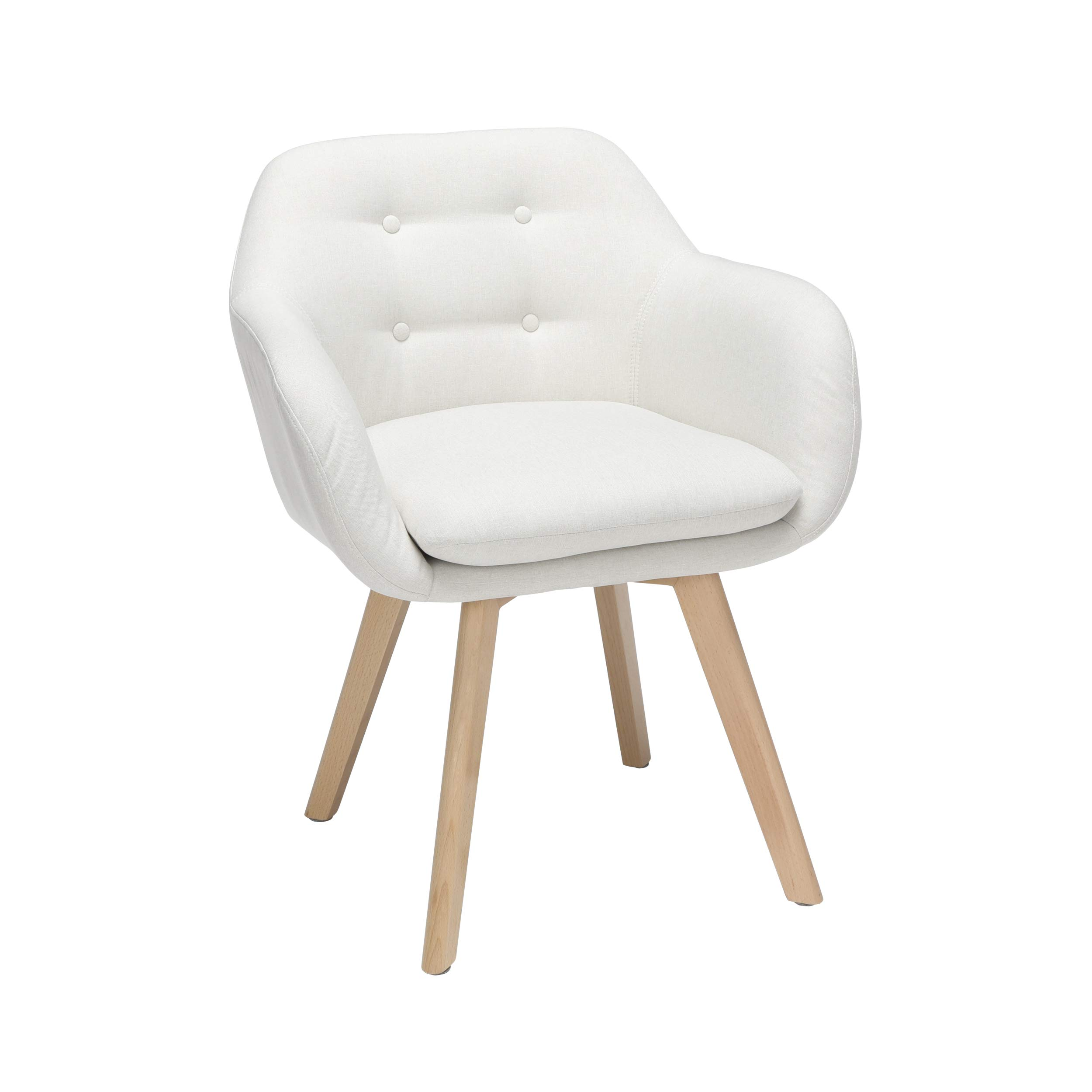 OFM 161 Collection Mid Century Modern Tufted Fabric Accent Chair with Arms, Dining Chair, Solid Beechwood Legs, 2 Pack, in Beige (161-FACA-BGE-2) by OFM