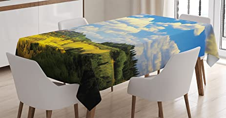 Tuscan Decor Tablecloth By Ambesonne, Old Italian Village Scenery With  Meadows And Clouds Mediterranean Rural