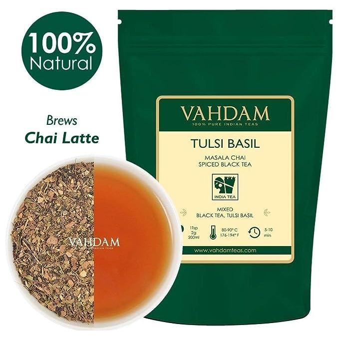 VAHDAM, té chai condimento con albahaca Tulsi, 100 gramos (50 tazas) |