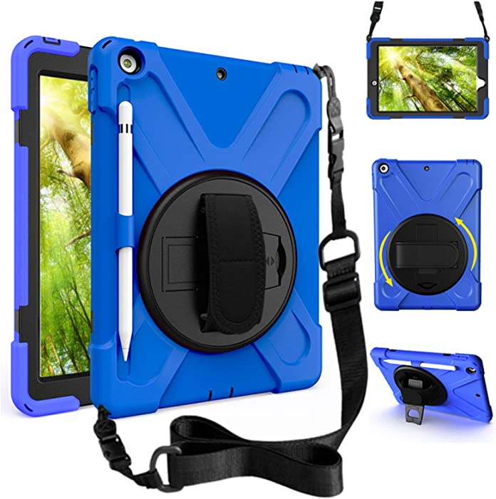 ZenRich iPad 10.2 Case 2019/2020 iPad 7th/8th Generation Case with Pencil Holder Kickstand Hand Strap and Shoulder Strap zenrich Case for iPad 10.2 inch A2197/A2198/A2199/A2200/A2270/A2428/A2429/A2430