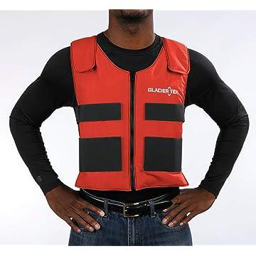 top best Glacier Tek Sports Cool Vest with Set of 8 Nontoxic Cooling Packs Red