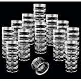 Beauticom 12 Pack(72 Pieces) 5G/5ML Transparent Stackable Plastic Storage Jar with Clear Lid for Jewelry, Findings, Pins…