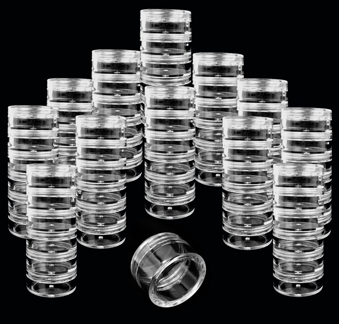 Beauticom 12 Pack 72 Pieces 5G 5ML Transparent Stackable Plastic Storage Jar with Clear Lid for Jewelry, Findings, Pins, Small and Loose Items