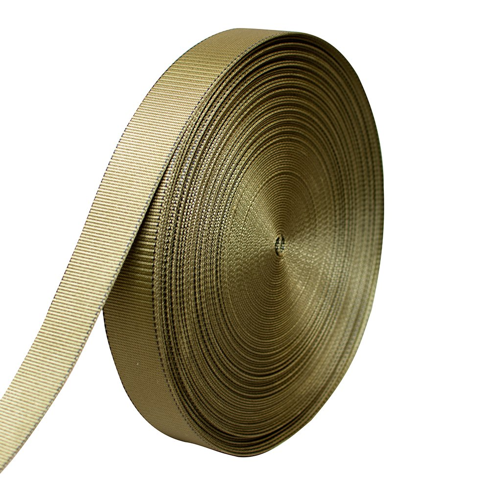 AMP 5000lbs Rated Heavy Duty Mil Spec Military Grade Nylon Fastening Webbing Strap 2'' Wide 50 Yards Coyote Brown/Black