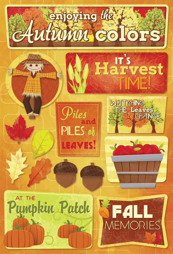 KAREN FOSTER 11576 Design Acid and Lignin Free Scrapbooking Sticker Sheet, Autumn Colors
